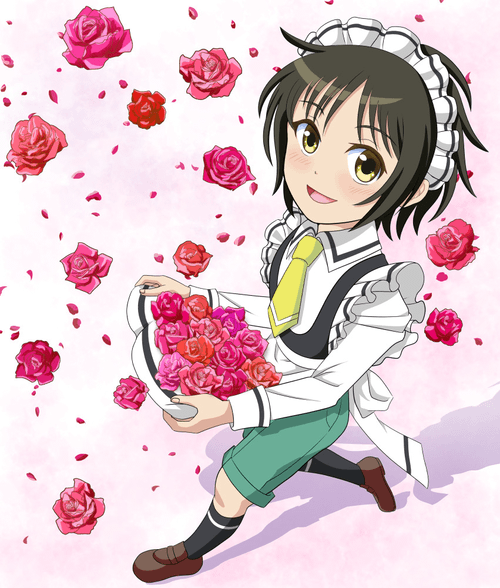薔薇とメイド君